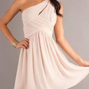 One-Shoulder Mini Nude Dress great for Homecoming!